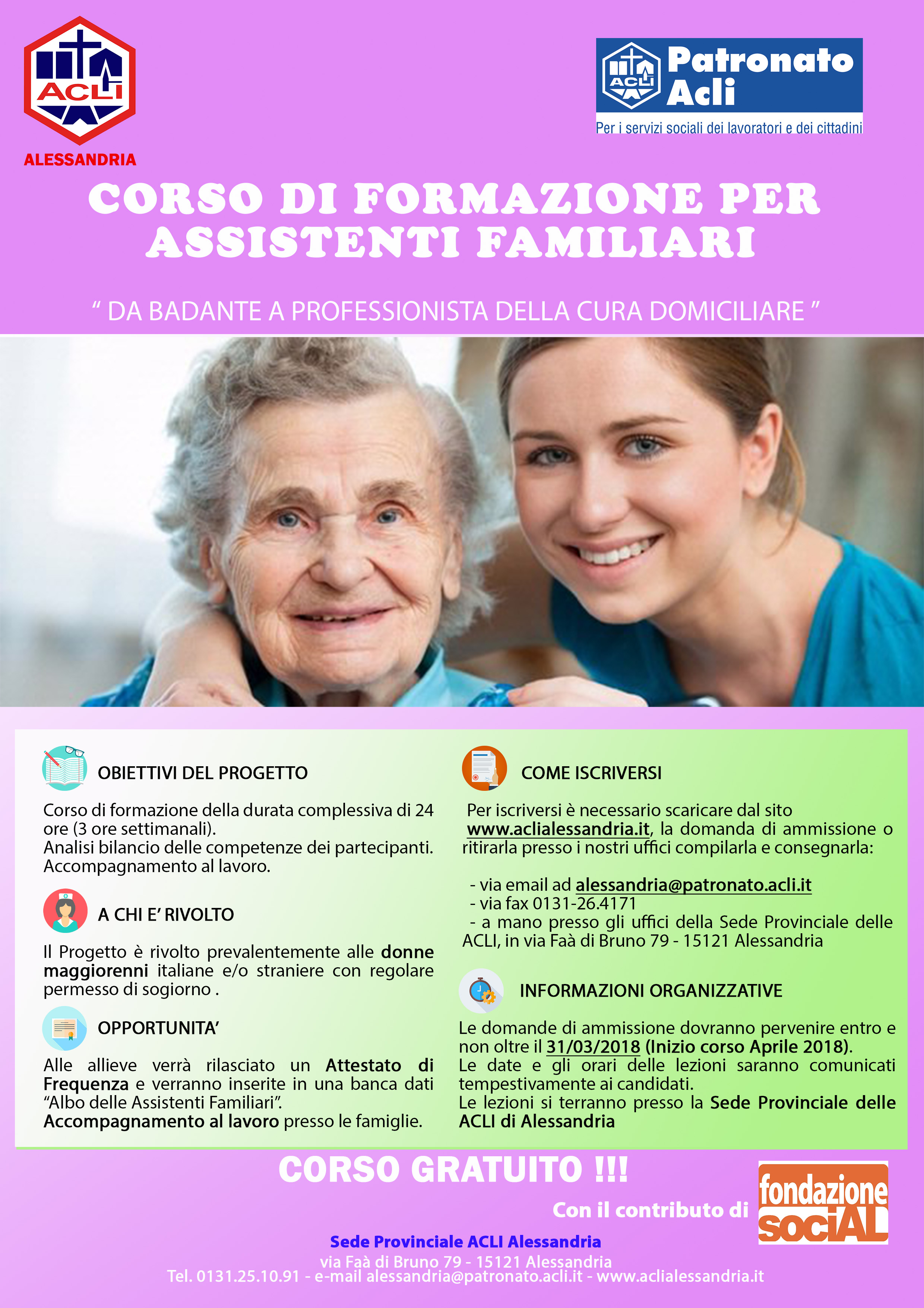 Acli Corso Di Formazione Per Assistenti Familiari Acli Alessandria